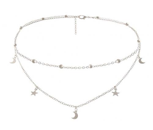 BaubleStar Star Moon Charm Chain Choker