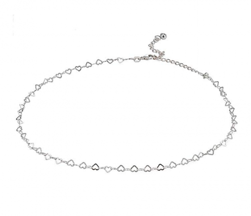 GemStar USA Sterling Silver Open Heart Chain Choker