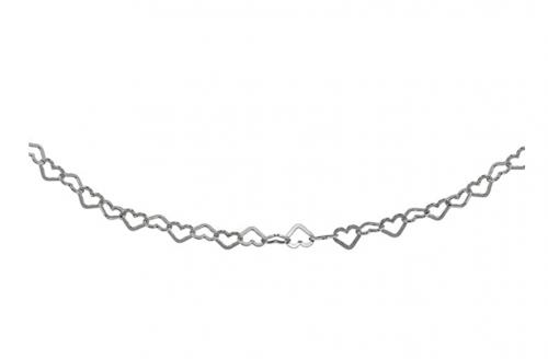 GemStar USA Sterling Silver Open Heart Chain Choker Detail