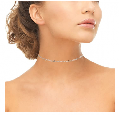 GemStar USA Sterling Silver Open Heart Chain Choker on Model