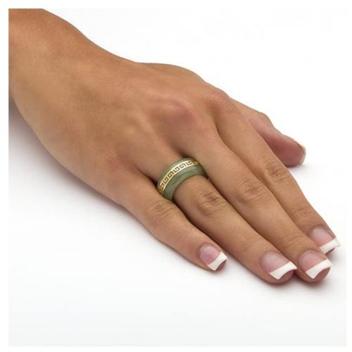 Palm Beach Jewelry 14K Yellow Gold Jade Ring on Hand