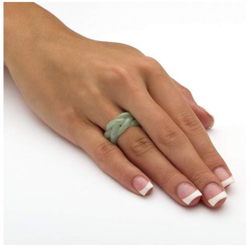 Lux Genuine Green Jade Eternity Ring on Hand