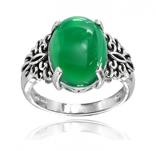 Ice Gems Sterling Silver Jade Filigree Ring