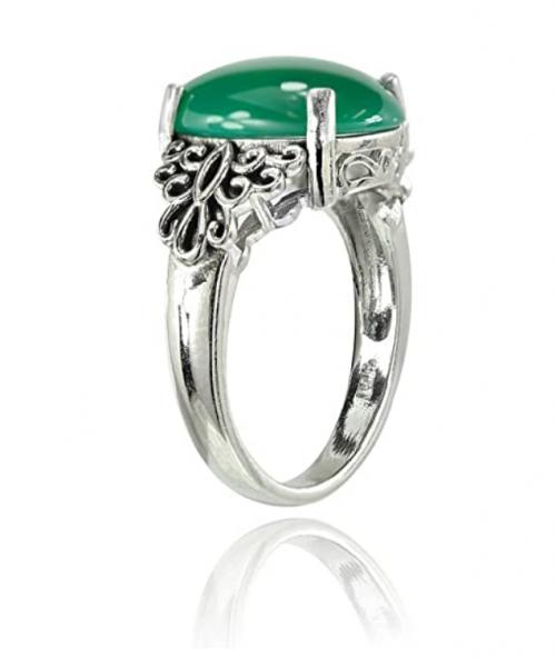 Ice Gems Sterling Silver Jade Filigree Ring Profile