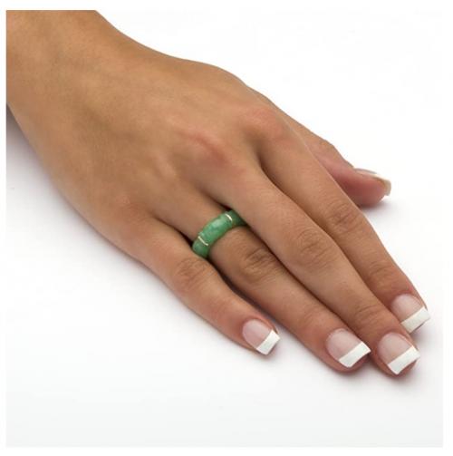 Seta Jewelry Jade Bamboo Ring on Hand