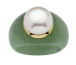 Palm Beach Jewelry Pearl and Green Jade Ring