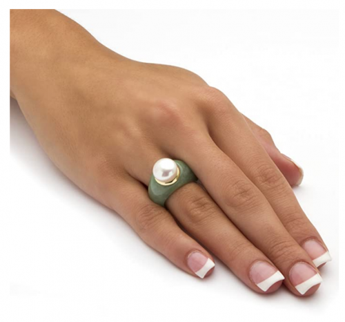 Palm Beach Jewelry Pearl and Green Jade Ring on Hand