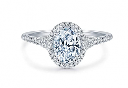 HAFEEZ CENTER Oval Halo Cubic Zirconia Engagement Ring