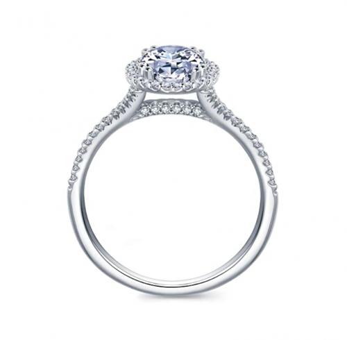 HAFEEZ CENTER Oval Halo Cubic Zirconia Engagement Ring Profile