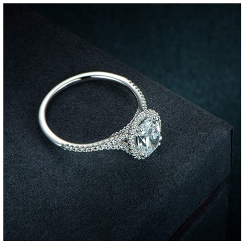 HAFEEZ CENTER Oval Halo Cubic Zirconia Engagement Ring on Display