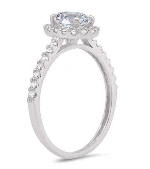 Parade of Jewels 10k Oval Shape Halo Engagement Ring Profile