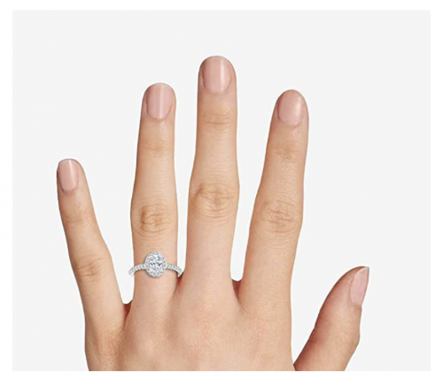 Parade of Jewels 10k Oval Shape Halo Engagement Ring on Hand