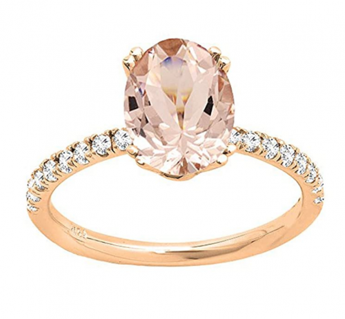Dazzlingrock Collection Diamond Oval Engagement Ring Front