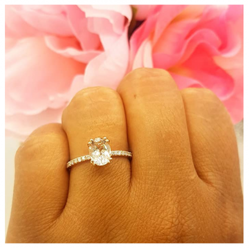 Dazzlingrock Collection Diamond Oval Engagement Ring on Hand