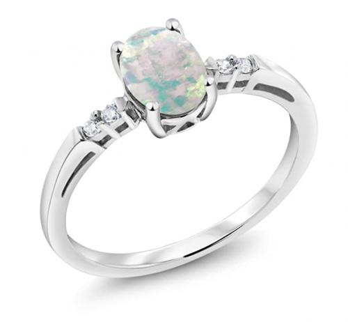 Gem Stone King 14K Opal and Diamond Ring