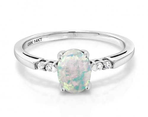 Gem Stone King 14K Opal and Diamond Ring Front