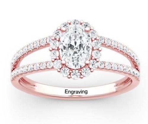 Jeulia Moissanite Split Shank Halo Oval Engagement Ring