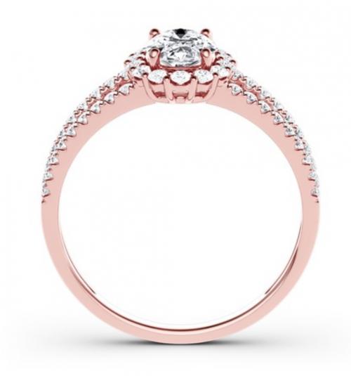 Jeulia Moissanite Split Shank Halo Oval Engagement Ring Profile