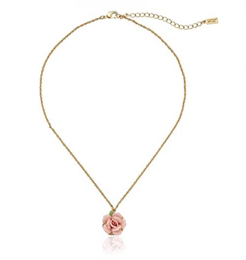 1928 Jewelry Porcelain Rose Pendant Necklace