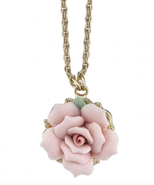 1928 Jewelry Porcelain Rose Pendant Necklace Detail