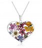Amazon Collection Sterling Silver Pressed Flower Necklace