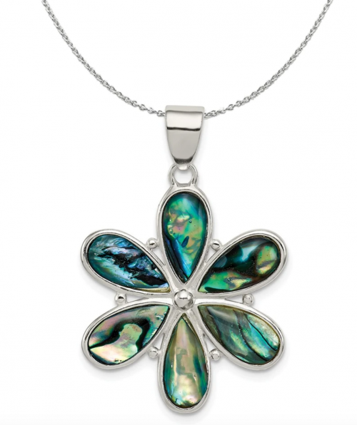 The Black Bow Jewelry & Co. Sterling Silver and Abalone Flower Necklace