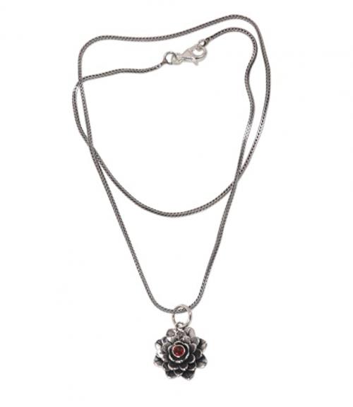 NOVICA Garnet Handmade Flower Necklace
