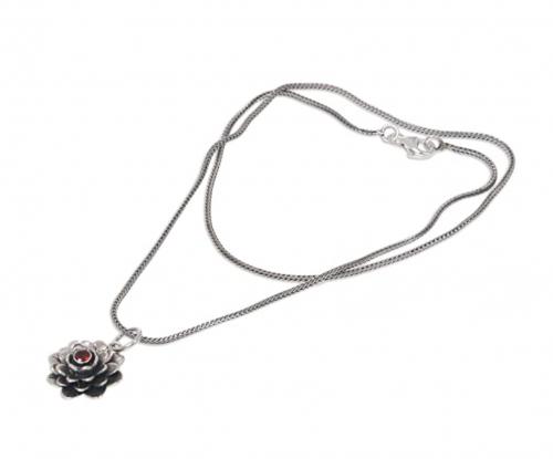 NOVICA Garnet Handmade Flower Necklace Side
