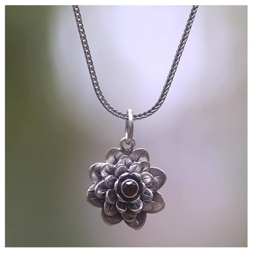 NOVICA Garnet Handmade Flower Necklace Detail