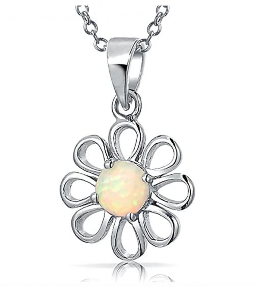 Bling Jewelry Rainbow Opal Daisy Flower Necklace