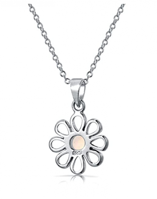 Bling Jewelry Rainbow Opal Daisy Flower Necklace Back