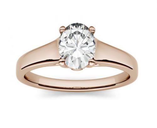 Charles & Colvard Oval Moissanite Engagement Ring
