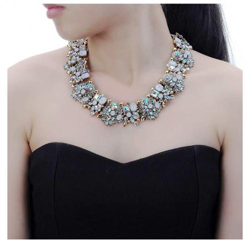 Jerollin Crystal Rhinestone Collar Necklace on Model