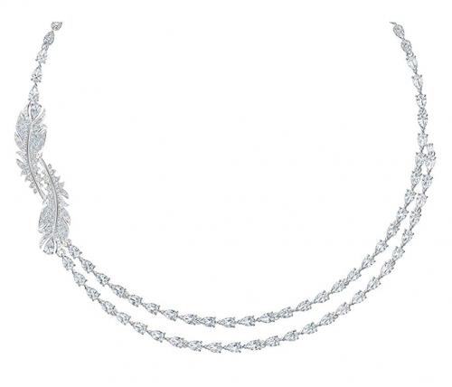 SWAROVSKI Crystal Nice Feather Collar Necklace Detail
