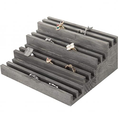 MyGift 4-Tier Rustic Wood Ring Display Riser