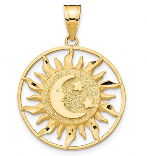 ICE CARATS 14k Gold Sun Moon Star Necklace