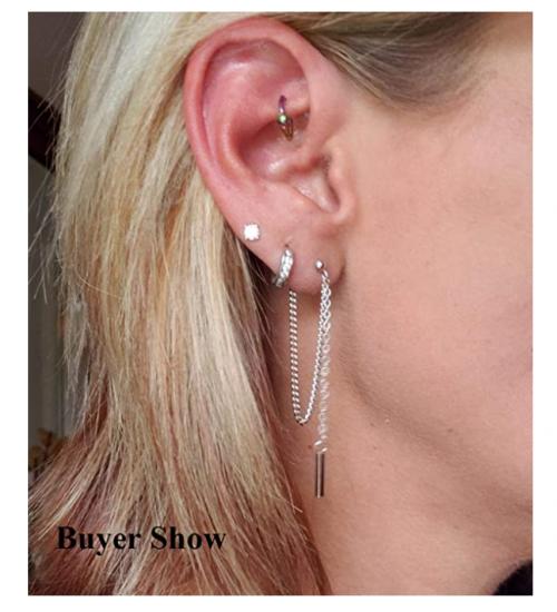 SLUYNZ 925 Sterling Silver Earring Chain on Model