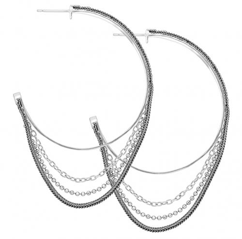 Silpada 'High Life' Multi-Chain Hoop Earrings 2