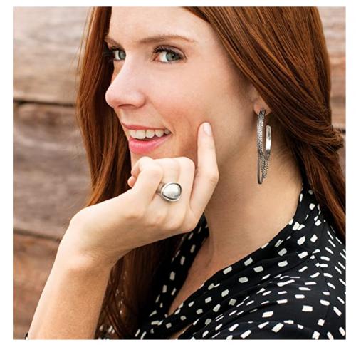 Silpada 'High Life' Multi-Chain Hoop Earrings on Model