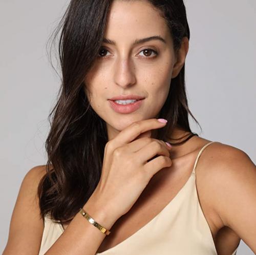 MVCOLEDY Jewelry 18 K Gold Plated Bangle Bracelet on Model