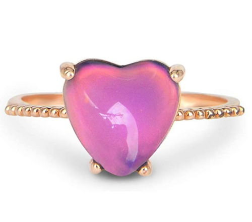 Fun Jewels Minimalist Rose Gold Heart Mood Ring