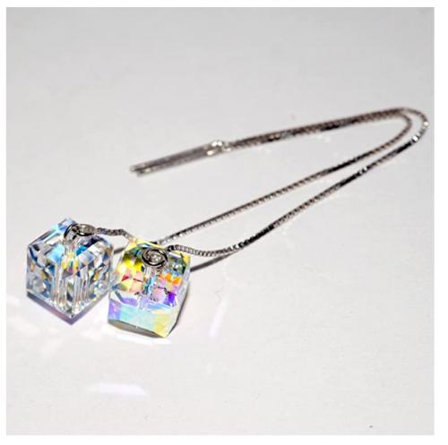 AllenCOCO 925 Silver SWAROVSKI Crystals Long Tassel Threaders