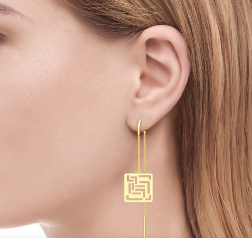 "Jeulia ""Mirrored Duplicate"" Maze Design Sterling Silver Threader Earrings"