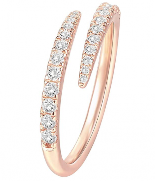 PAVOI 14K Gold Plated Sterling Silver Cubic Zirconia Open Twist Thumb Ring