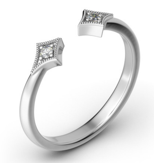 Stackable Rhombus Sterling Silver Open Ring