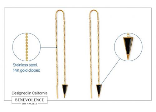 Dagger Threader Triangle Earrings - 14k Gold Threader Earring