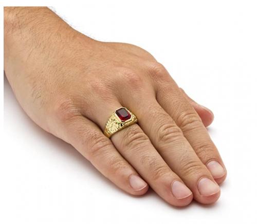 Palm Beach Jewelry Men's 14K Yellow Gold Ruby Ring