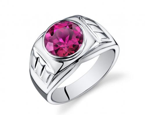 Men's Ruby Ring in Sterling Silver