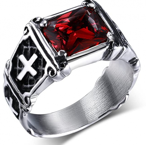 UOKOHO Men's Vintage AAA Ruby Red Stone Titanium and Stainless Steel Cross Ring