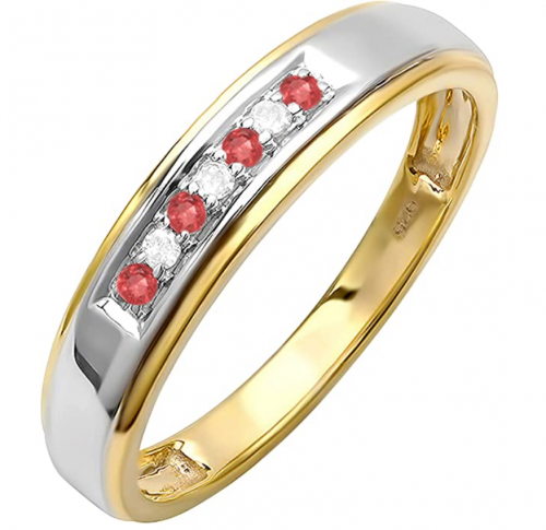 Dazzlingrock Collection Round Ruby and White Diamond Band
